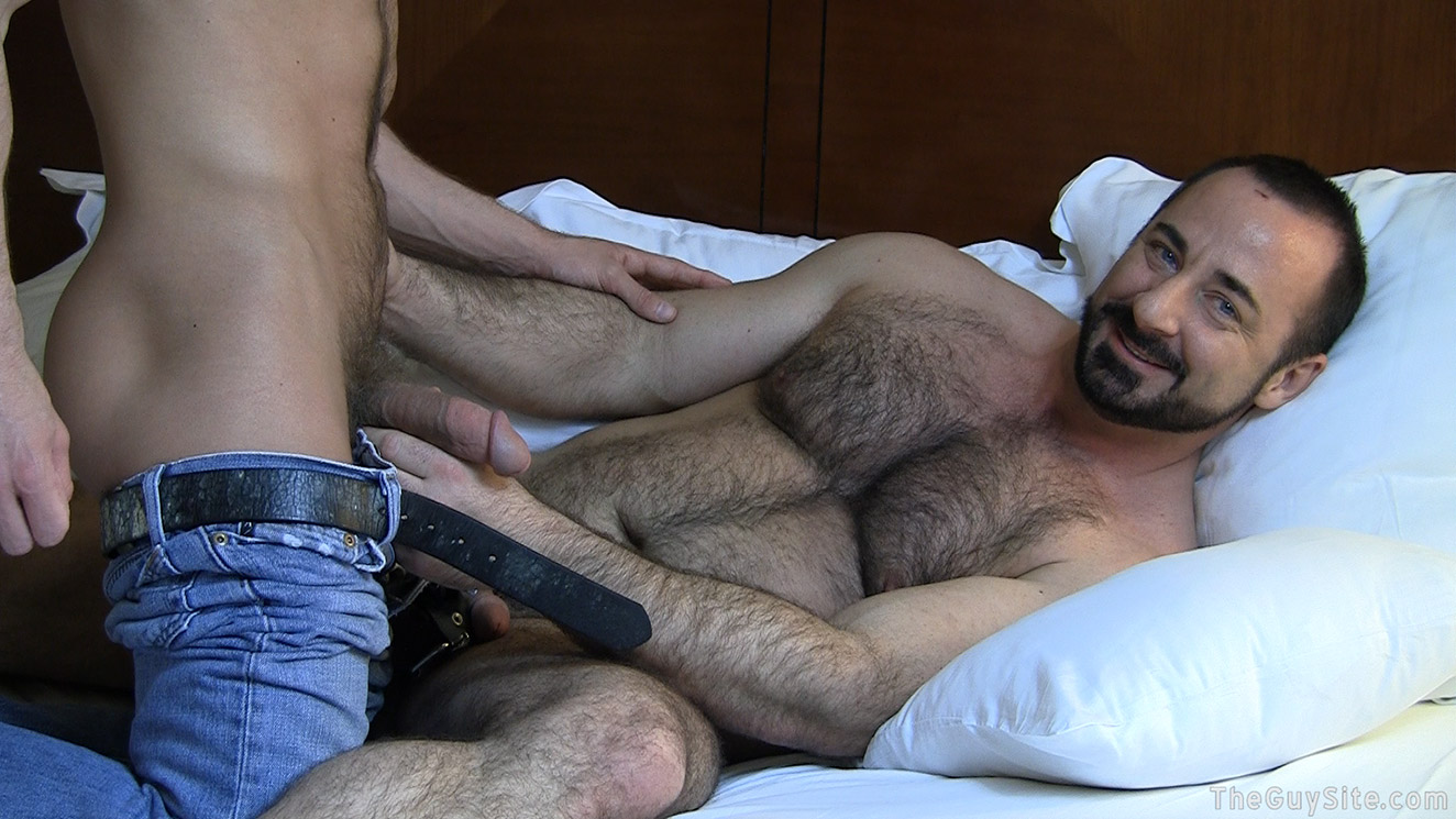 Hairy chested gay men having sex